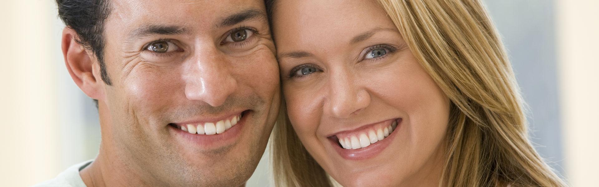 happy couple with perfect smiles
